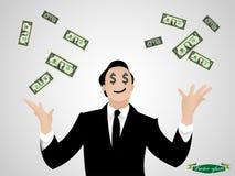 商人投掷金钱传染媒介 库存照片
