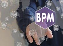 商人按在触摸屏上的一个按钮BPM 库存图片