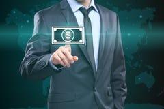 商人按数字接口美元的符号 免版税库存图片