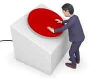 商人按的按钮代表新闻专家和贸易 库存照片