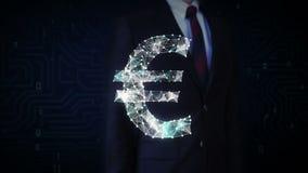 商人接触了屏幕,许多小点会集创造欧洲货币符,低多角形网 向量例证