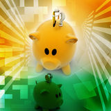 商人放硬币入存钱罐 免版税库存图片