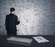 商人文字在墙壁上的战略计划 免版税库存照片