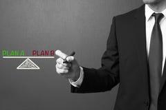 商人文字计划A和计划B -平衡概念 图库摄影