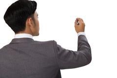 商人文字,在空白的图画后面看法  免版税库存图片