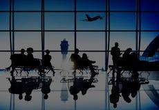 商人旅行乘客机场终端概念 免版税图库摄影
