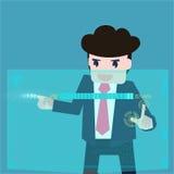 商人是被分析的数据 免版税库存图片