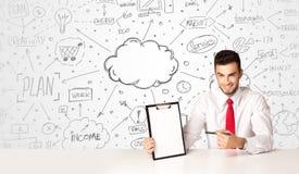 商人有企业概念背景 免版税图库摄影