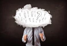 商人有问题和惊叹号的云彩头 库存图片
