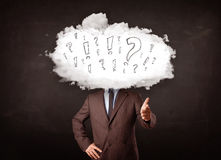 商人有问题和惊叹号的云彩头 库存照片