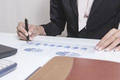 商人检查严重分析谈论财务报告投资者的同事新的计划财政图表数据 银行经理 免版税库存照片