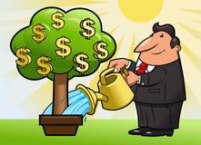 商人浇灌金钱树2 免版税库存照片