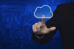 商人点击与拷贝空间的云彩象在地图和cit 免版税库存照片