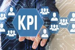 商人点击按钮KPI 库存图片