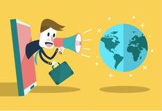 商人用途对世界的扩音器谈话 数字式的营销和概念性社会的网络 免版税图库摄影