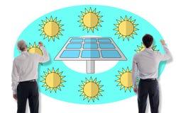 商人画的清洁能源概念 库存照片