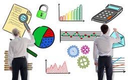 商人画的经营分析概念 向量例证