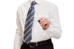 商人的手与标志的 免版税库存图片