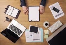 商人的桌面景色 免版税库存照片