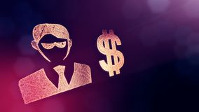 商人的美元的符号和象征 光亮微粒财务背景  3D与景深的圈动画 向量例证