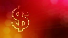 商人的美元的符号和象征 光亮微粒财务背景  3D与景深的圈动画 影视素材