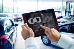 商人的综合图象使用数字式片剂的在智能手机旁边 库存照片
