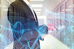 商人的综合图象使用他的片剂个人计算机的 免版税库存照片