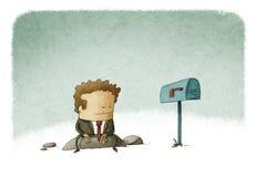 商人等待的邮件 免版税图库摄影