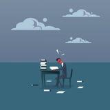 商人繁忙与与文件红色顶头研究堆的文书工作劳累了过度坐在办公室的疲乏的商人 库存例证