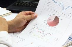 商人综合报告和定货计划分析金钱marke 库存图片