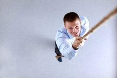 商人编组队点手指在您,在办公室 企业例证JPG人向量 库存照片