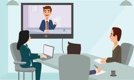 商人网会议会议在办公室 看屏幕的公司人民 图库摄影