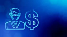 商人美元的符号和象征  光亮微粒财务背景  3D与景深的圈动画 向量例证