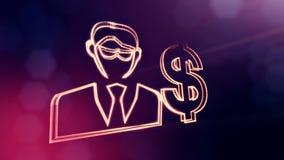 商人美元的符号和象征  光亮微粒财务背景  3D与景深的圈动画 库存例证