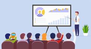 商人老师举行在电子商务行销,使用whiteboard的安装的观众的产品开发的一次演讲 向量例证