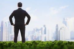 商人背面图用在站立在一个绿色领域和看城市地平线的臀部的手 库存图片