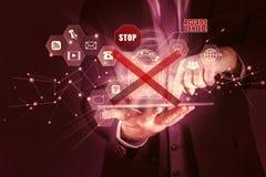 商人获取关于片剂的个人信息,数据保护保密性概念,通入否认了 库存照片