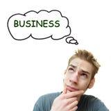商人认为年轻人 免版税库存照片