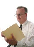 商人读取报表微笑的ver2 库存照片