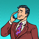 商人谈话在电话 向量例证