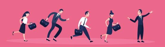 商人跟随的组长商人指向的方向配合成功概念平的水平的横幅 库存例证