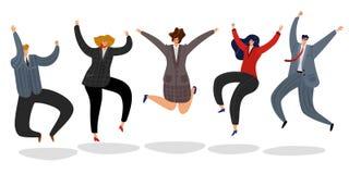 商人跳跃 激动的愉快的雇员跳庆祝成功赢得的动画片有动机的队办公室工作者 向量例证