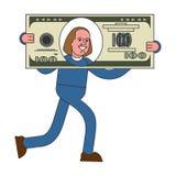 商人运载大美元 巨大的赢利 大货币 库存例证
