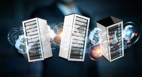 商人连接的服务器室数据中心3D翻译 库存照片