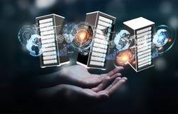 商人连接的服务器室数据中心3D翻译 免版税库存照片