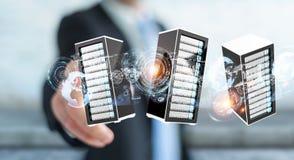 商人连接的服务器室数据中心3D翻译 图库摄影