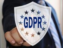商人选择在触摸屏上的GDPR 一般数据保护章程 免版税库存照片
