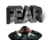 商人递拿着顶头饰面3D恐惧呈杂色的具体w 免版税库存图片
