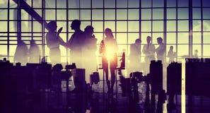 商人通信会议讨论办公室概念 免版税库存图片