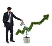 商人那浇灌有箭头形状的一棵植物  生长的概念公司经济 免版税库存照片